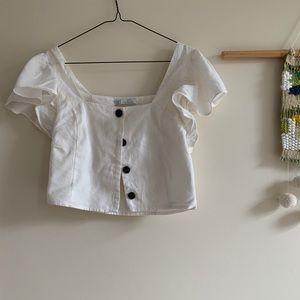 White Zara crop top